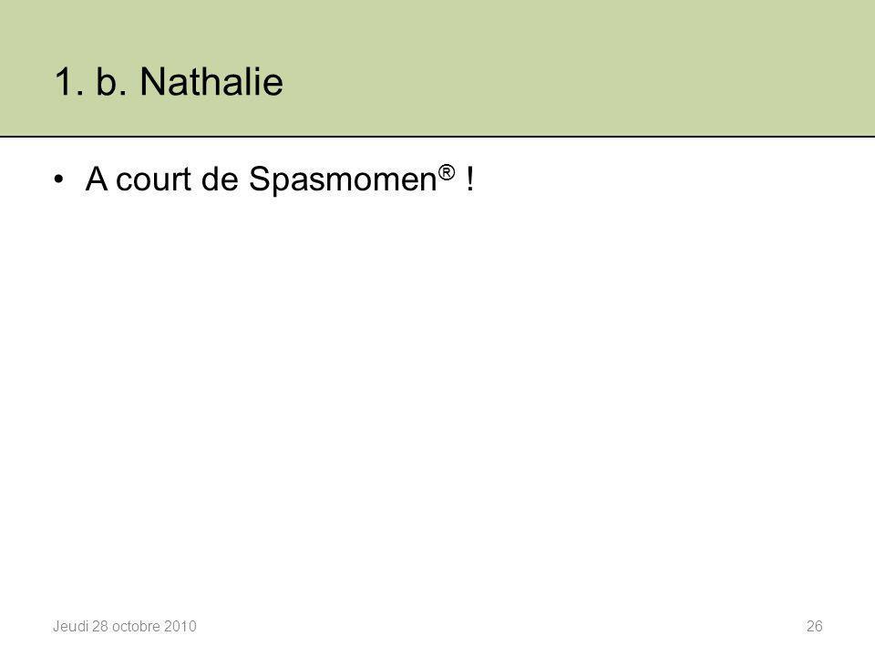 1. b. Nathalie A court de Spasmomen® ! Jeudi 28 octobre 2010