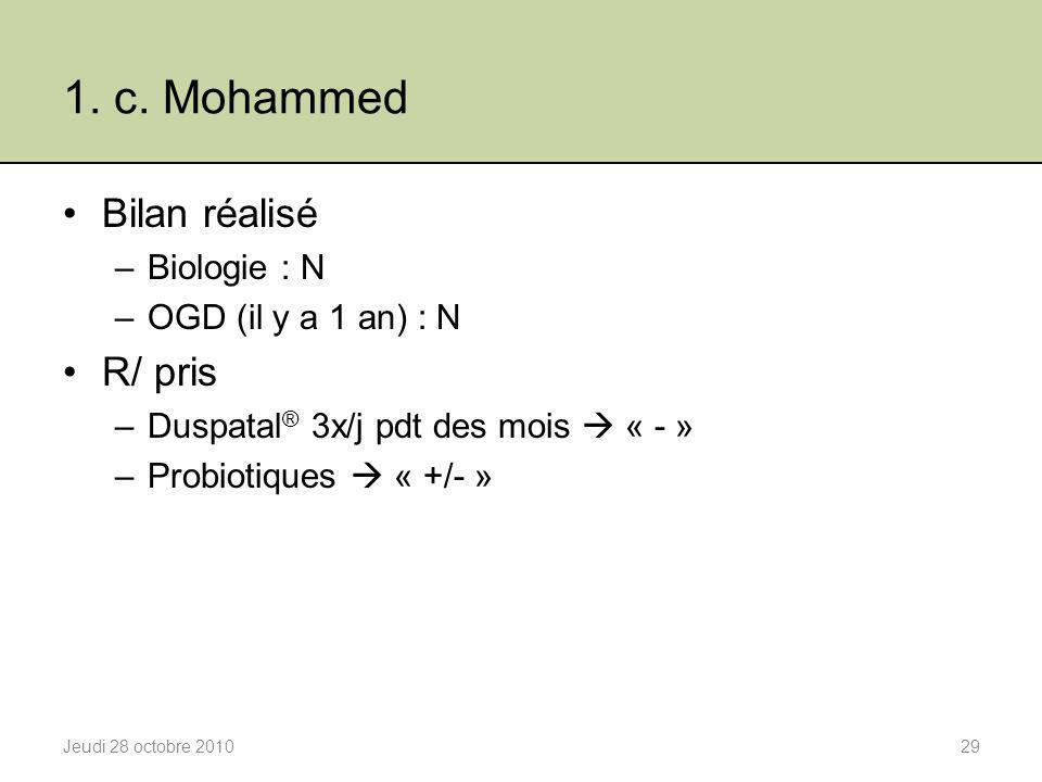 1. c. Mohammed Bilan réalisé R/ pris Biologie : N