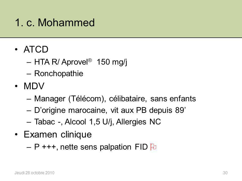 1. c. Mohammed ATCD MDV Examen clinique HTA R/ Aprovel® 150 mg/j