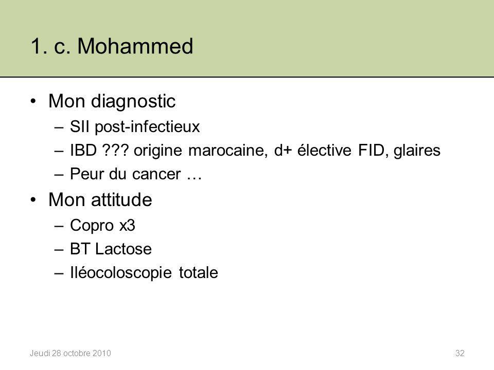 1. c. Mohammed Mon diagnostic Mon attitude SII post-infectieux