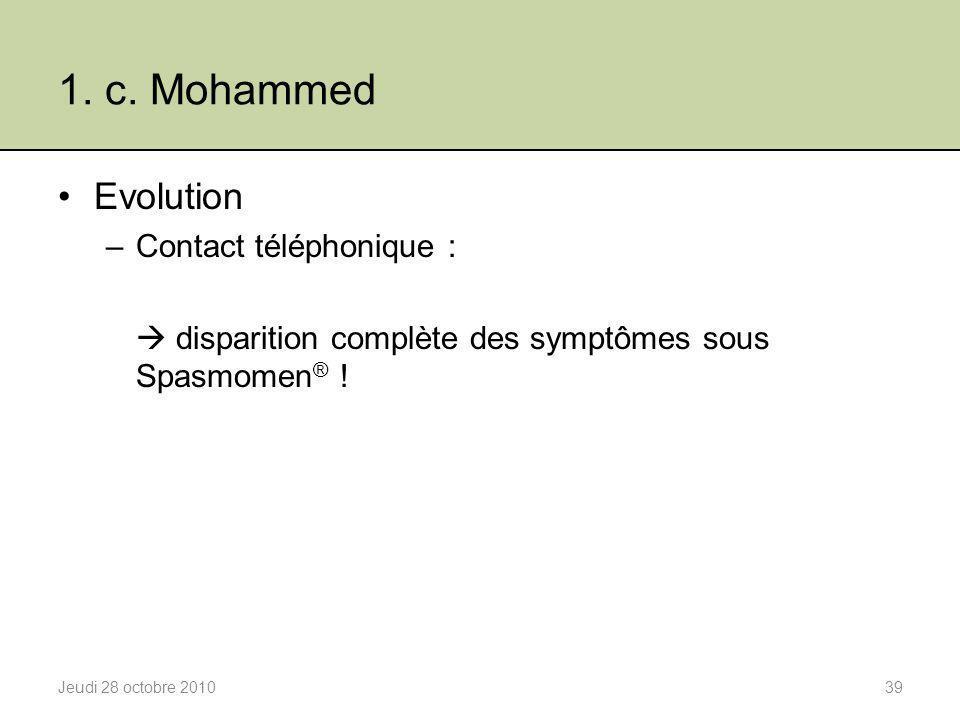 1. c. Mohammed Evolution Contact téléphonique :