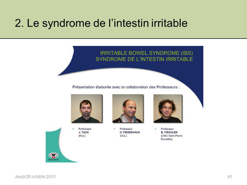 2. Le syndrome de l'intestin irritable