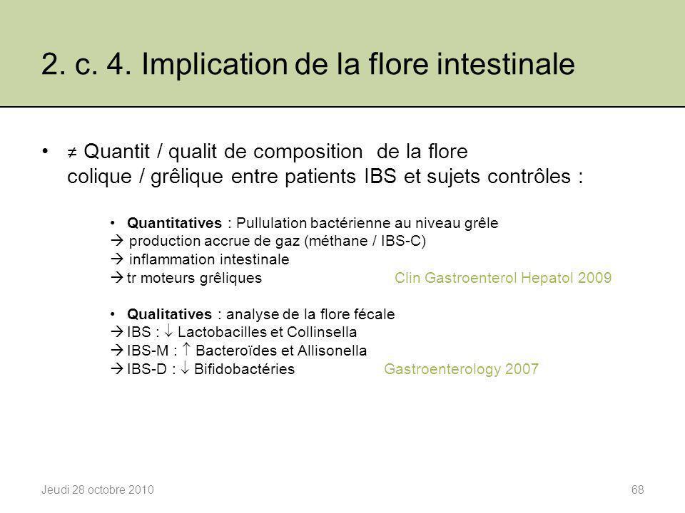 2. c. 4. Implication de la flore intestinale