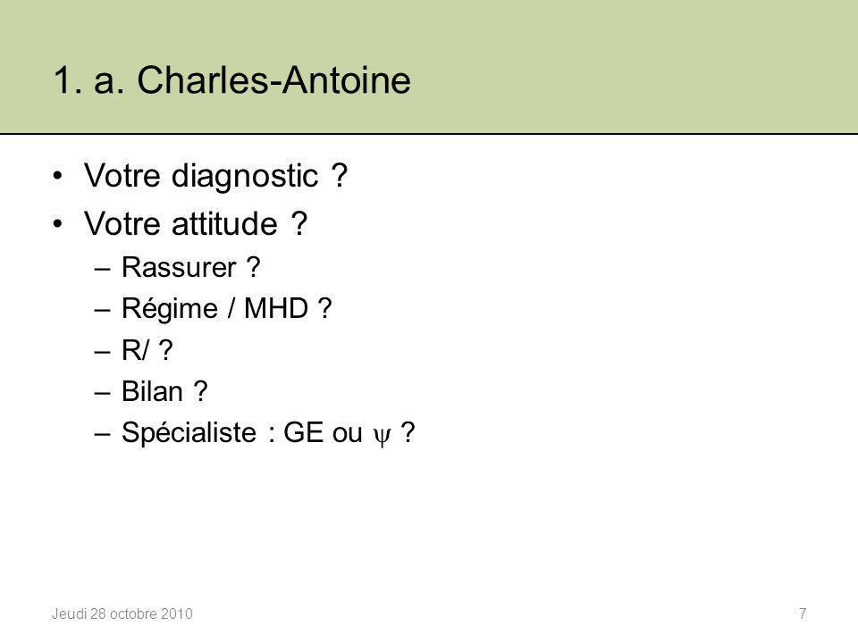 1. a. Charles-Antoine Votre diagnostic Votre attitude Rassurer