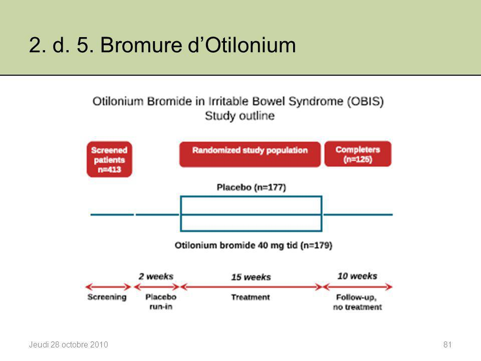 2. d. 5. Bromure d'Otilonium Jeudi 28 octobre 2010