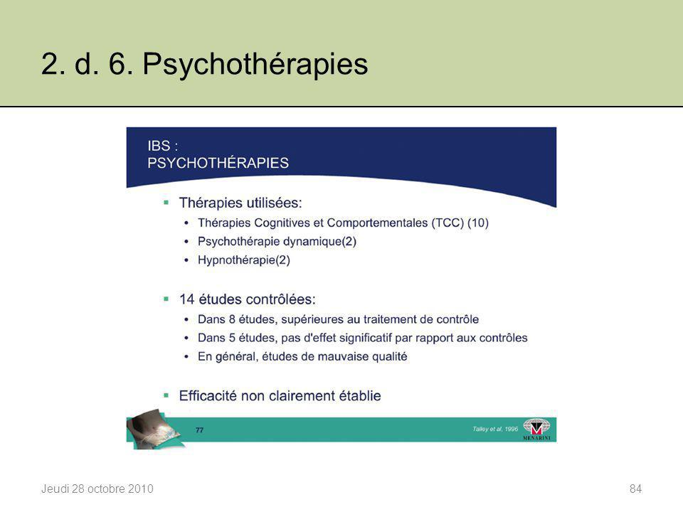 2. d. 6. Psychothérapies Jeudi 28 octobre 2010
