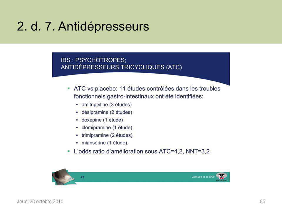 2. d. 7. Antidépresseurs Jeudi 28 octobre 2010