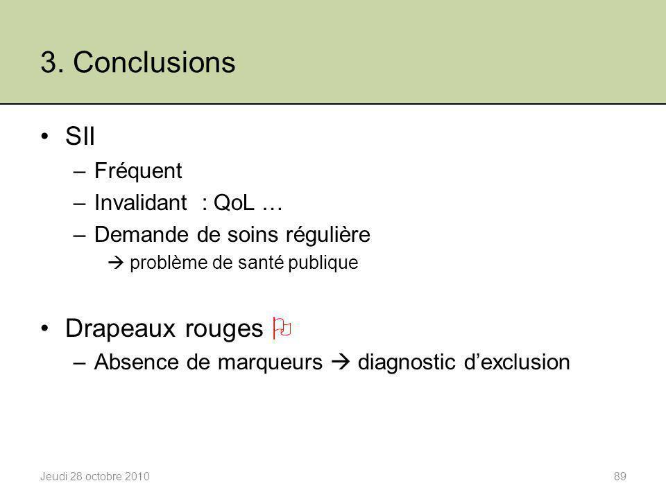 3. Conclusions SII Drapeaux rouges  Fréquent Invalidant : QoL …