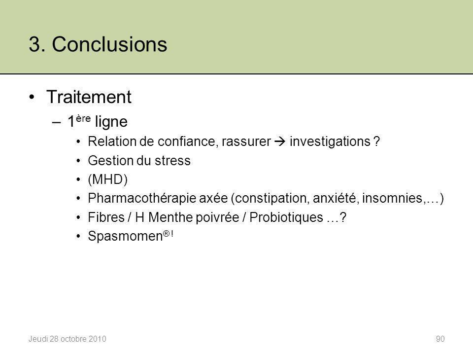 3. Conclusions Traitement 1ère ligne