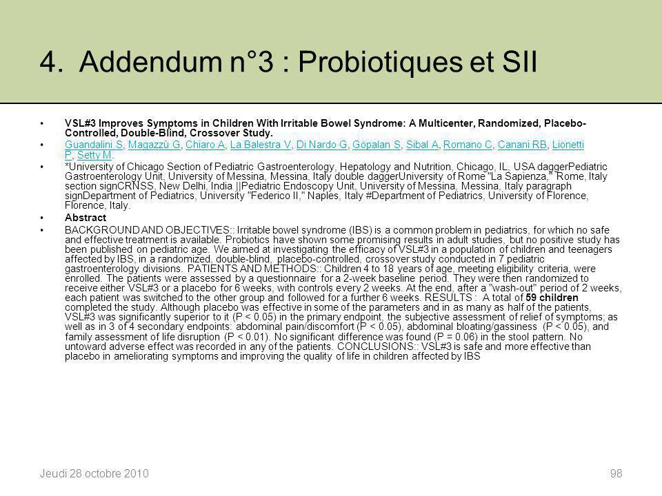4. Addendum n°3 : Probiotiques et SII