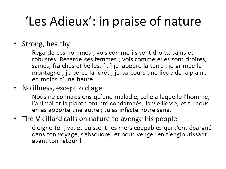 'Les Adieux': in praise of nature