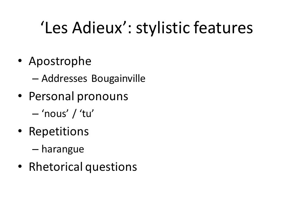 'Les Adieux': stylistic features
