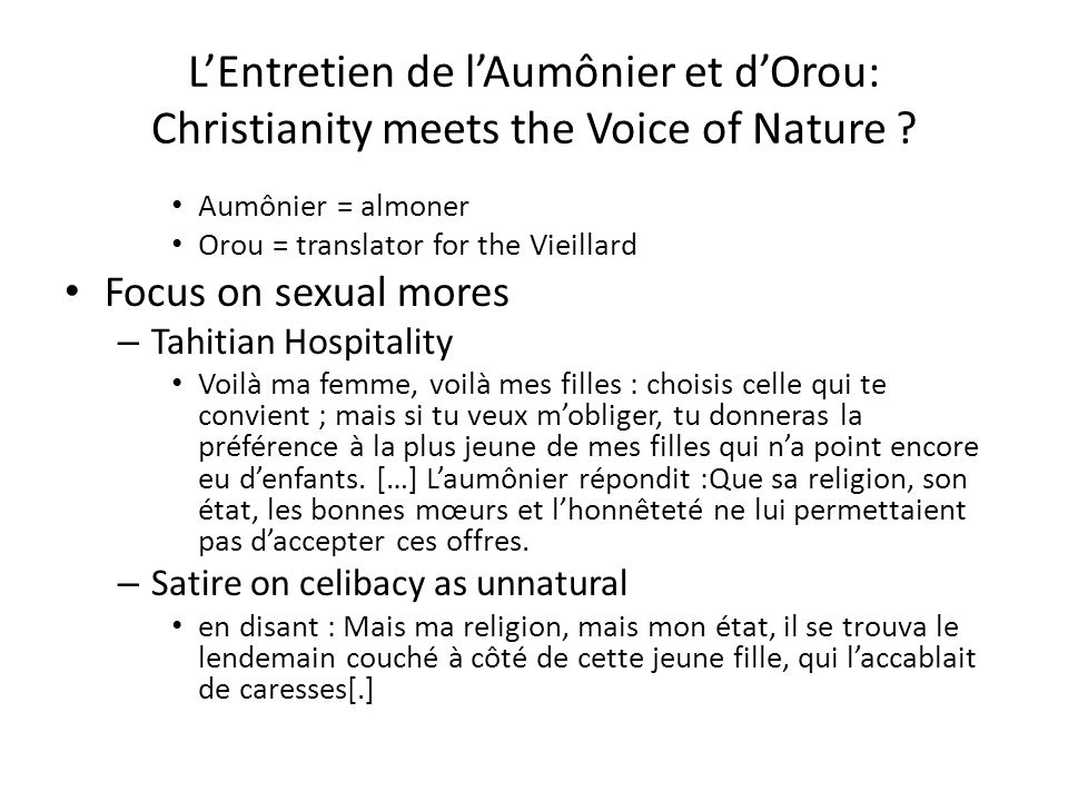 L'Entretien de l'Aumônier et d'Orou: Christianity meets the Voice of Nature