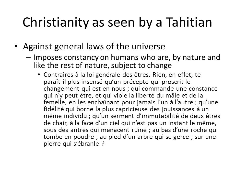 Christianity as seen by a Tahitian