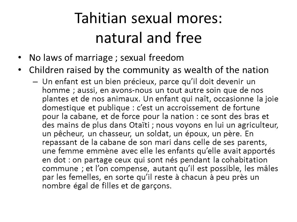 Tahitian sexual mores: natural and free