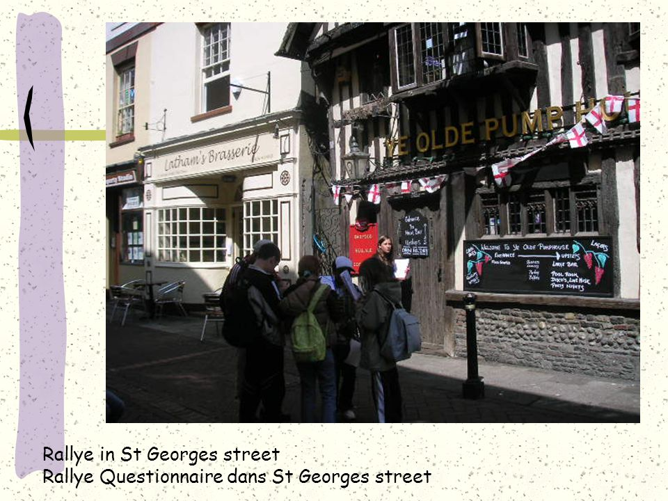 Rallye in St Georges street Rallye Questionnaire dans St Georges street