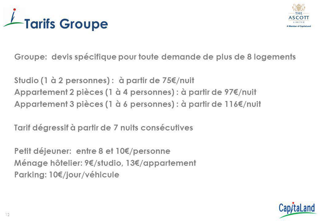 Tarifs Groupe