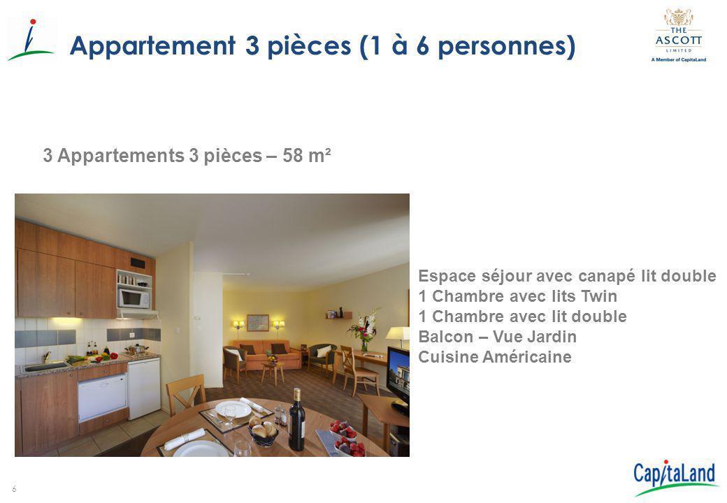Appartement 3 pièces (1 à 6 personnes)