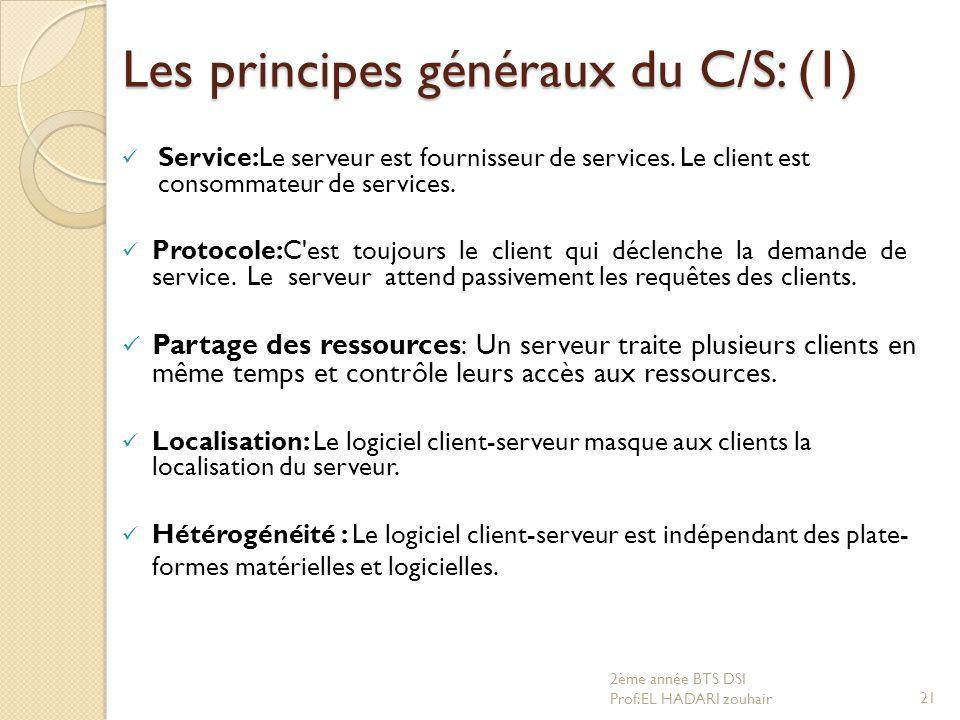 Les principes généraux du C/S: (1)