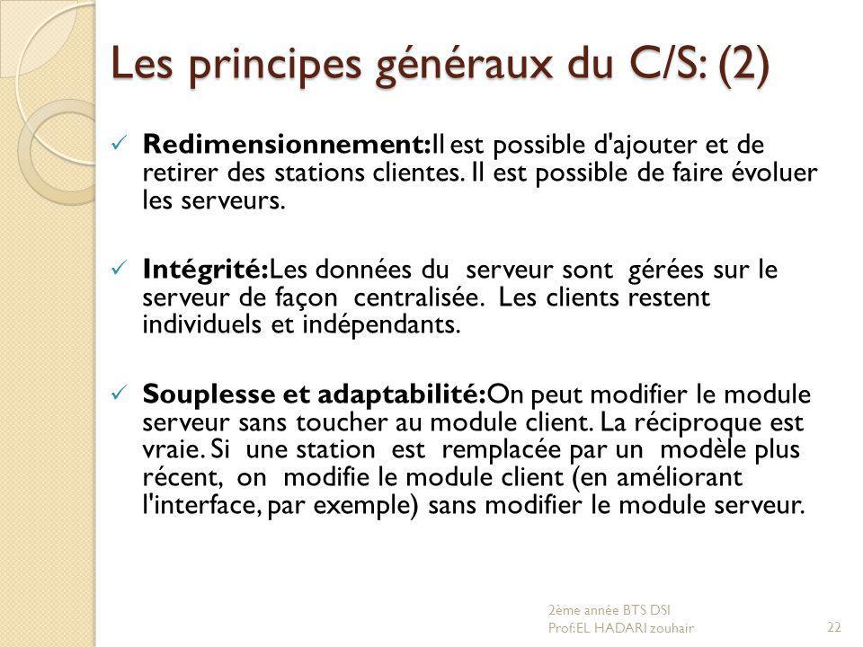 Les principes généraux du C/S: (2)