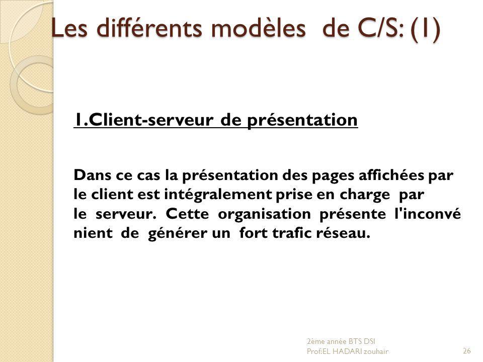 Les différents modèles de C/S: (1)