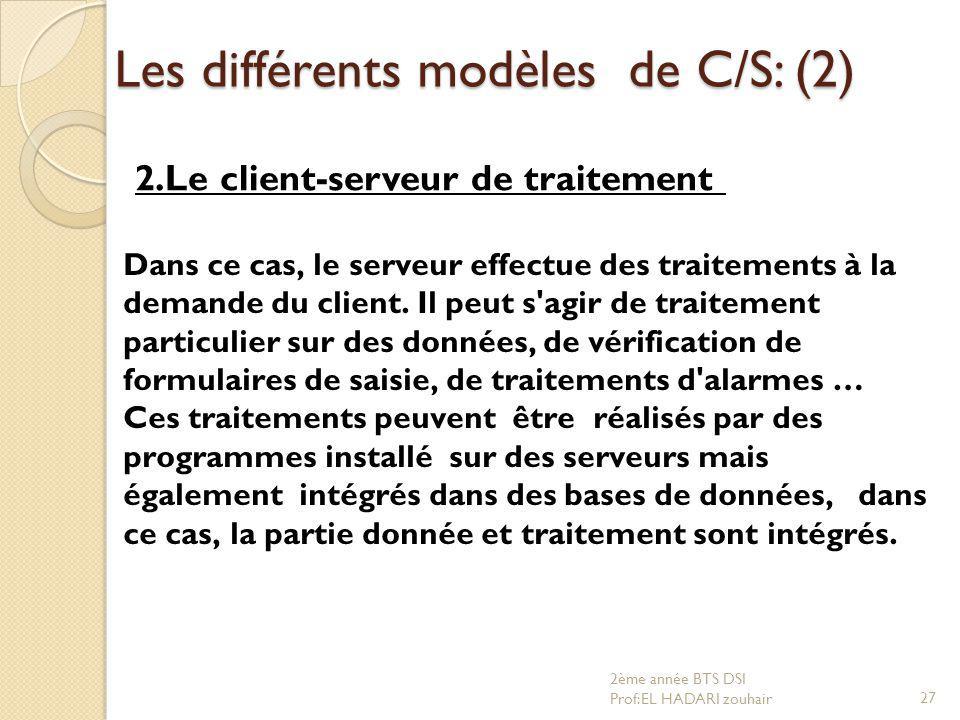 Les différents modèles de C/S: (2)