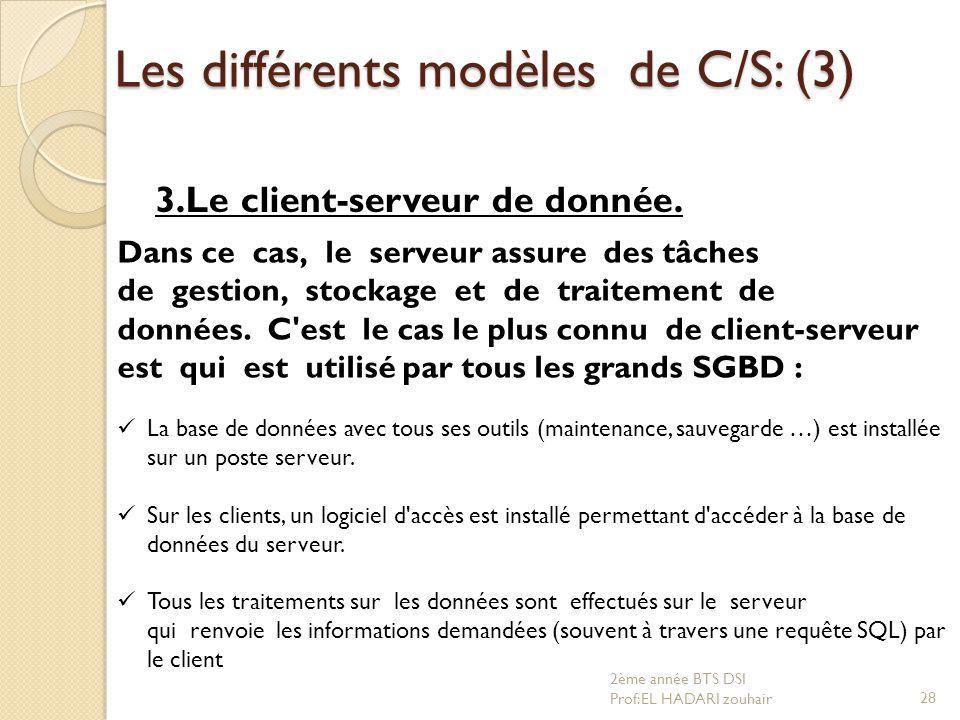 Les différents modèles de C/S: (3)
