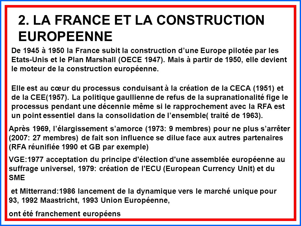 2. LA FRANCE ET LA CONSTRUCTION EUROPEENNE