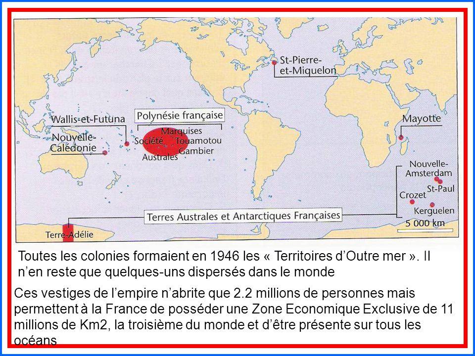 Toutes les colonies formaient en 1946 les « Territoires d'Outre mer »