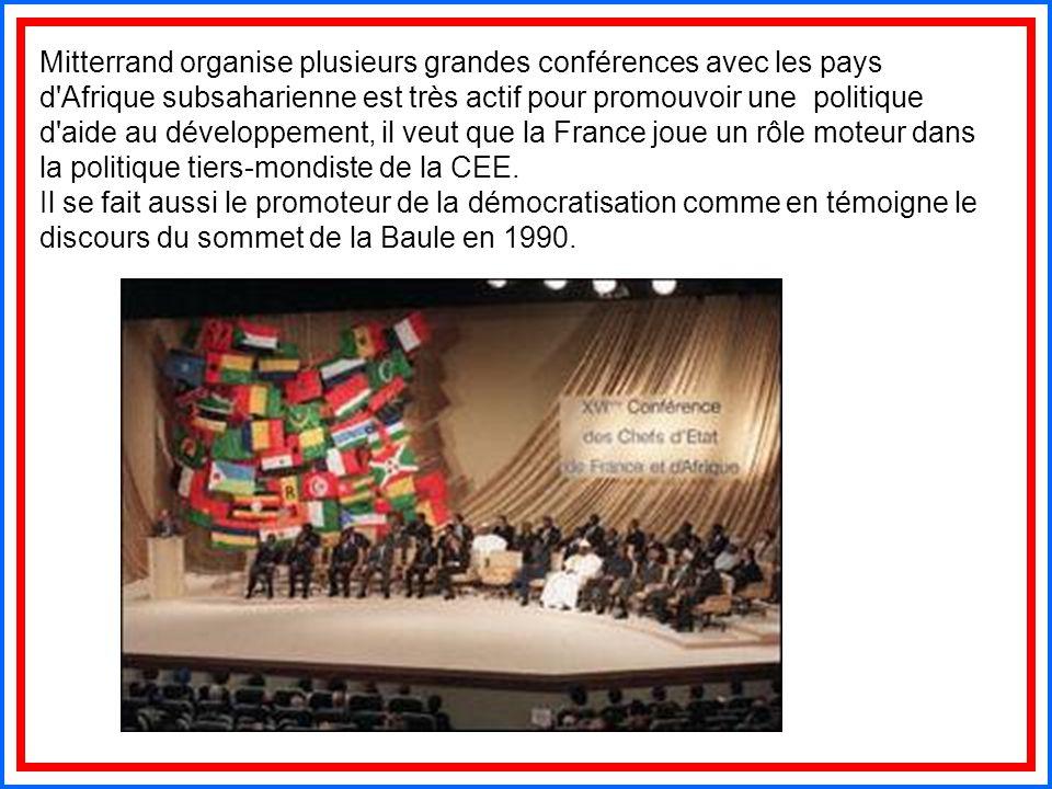Mitterrand organise plusieurs grandes conférences avec les pays d Afrique subsaharienne est très actif pour promouvoir une politique d aide au développement, il veut que la France joue un rôle moteur dans la politique tiers-mondiste de la CEE.