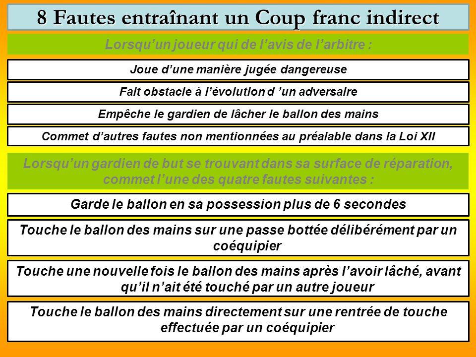 8 Fautes entraînant un Coup franc indirect
