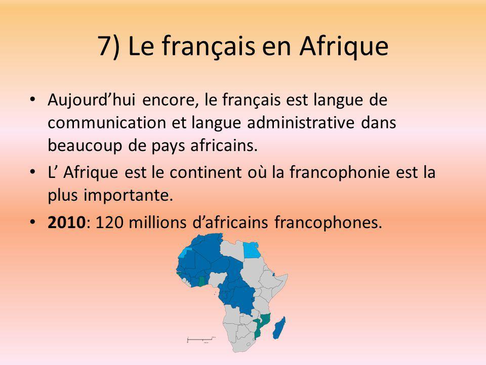 7) Le français en Afrique