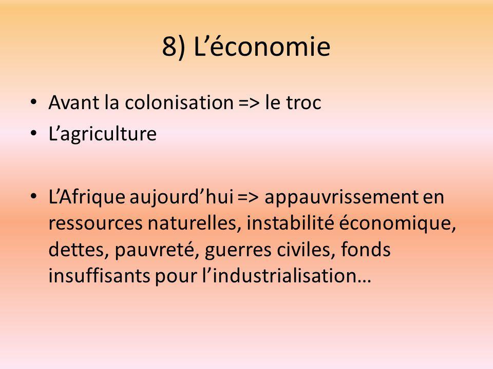 8) L'économie Avant la colonisation => le troc L'agriculture