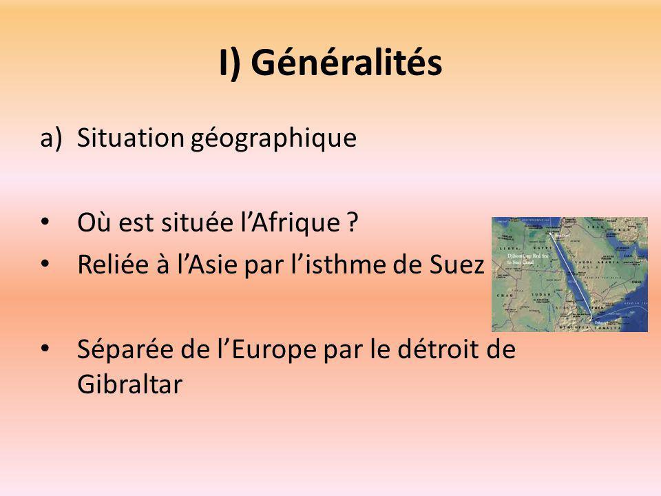 I) Généralités Situation géographique Où est située l'Afrique