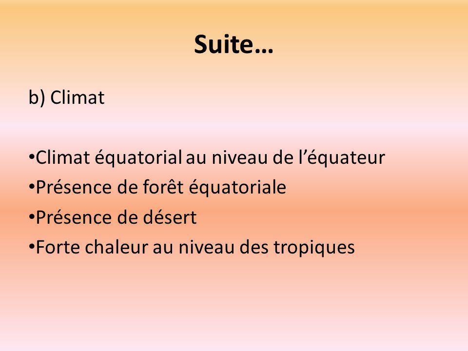 Suite… b) Climat Climat équatorial au niveau de l'équateur