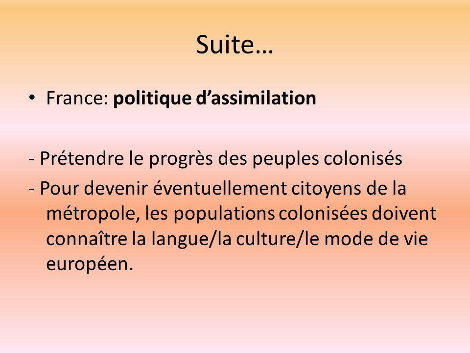 Suite… France: politique d'assimilation