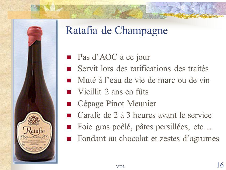 Ratafia de Champagne Pas d'AOC à ce jour