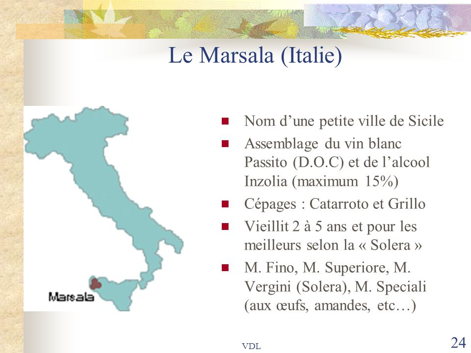 Le Marsala (Italie) Nom d'une petite ville de Sicile