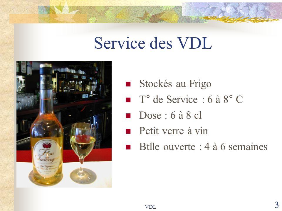Service des VDL Stockés au Frigo T° de Service : 6 à 8° C