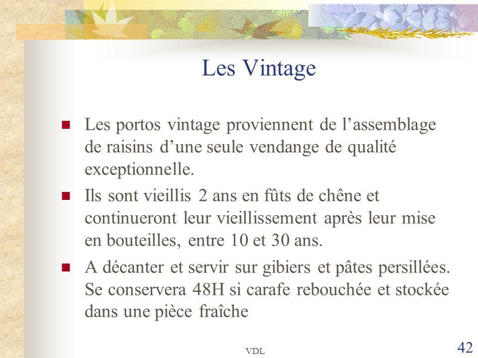 Les Vintage Les portos vintage proviennent de l'assemblage de raisins d'une seule vendange de qualité exceptionnelle.
