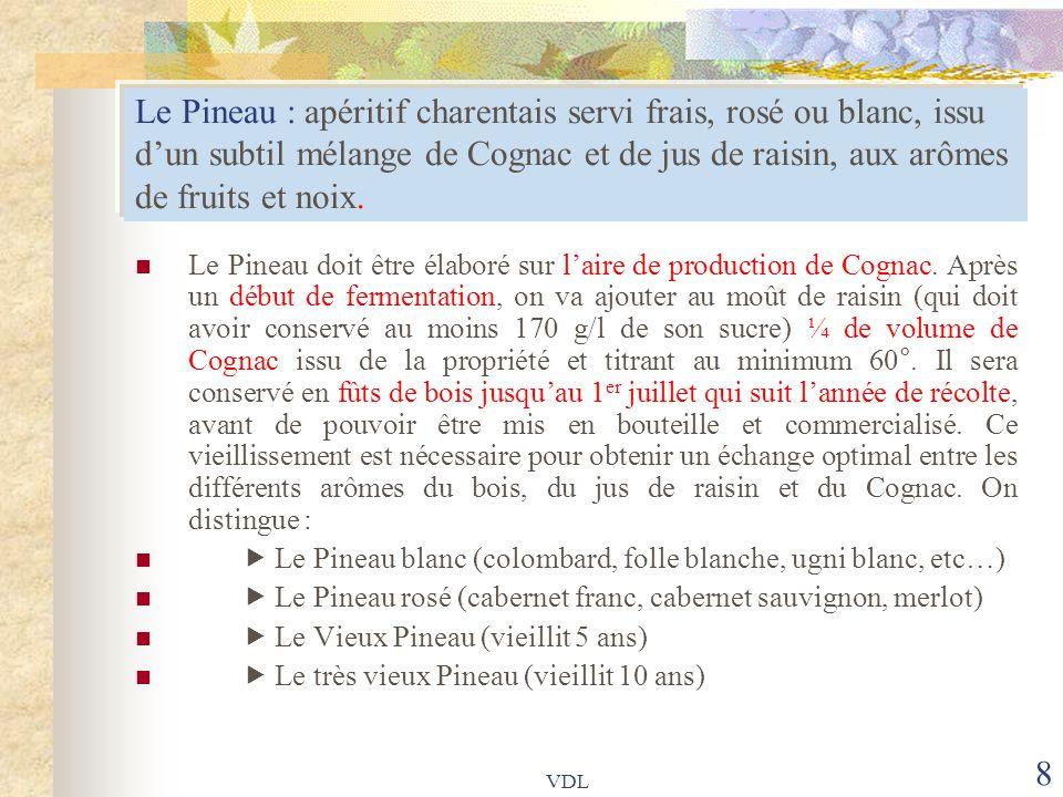 Le Pineau : apéritif charentais servi frais, rosé ou blanc, issu d'un subtil mélange de Cognac et de jus de raisin, aux arômes de fruits et noix.