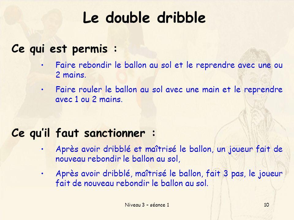 Le double dribble Ce qui est permis : Ce qu'il faut sanctionner :
