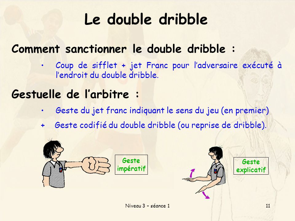 Le double dribble Comment sanctionner le double dribble :