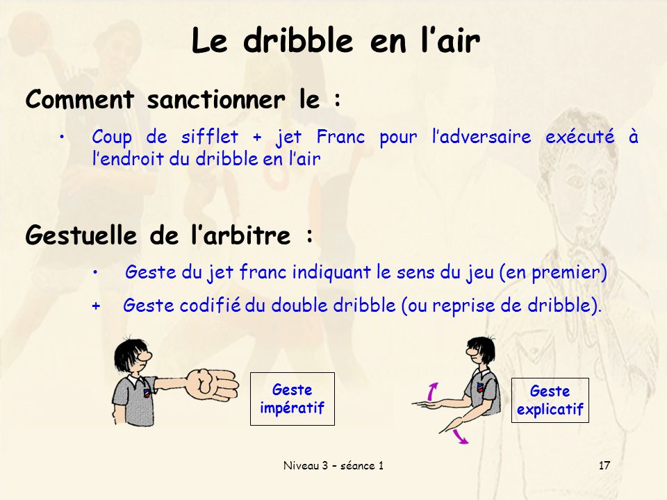 Le dribble en l'air Comment sanctionner le : Gestuelle de l'arbitre :