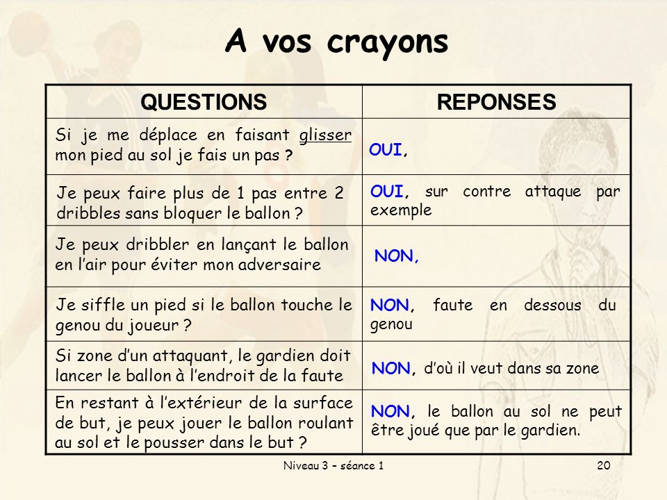 A vos crayons QUESTIONS REPONSES