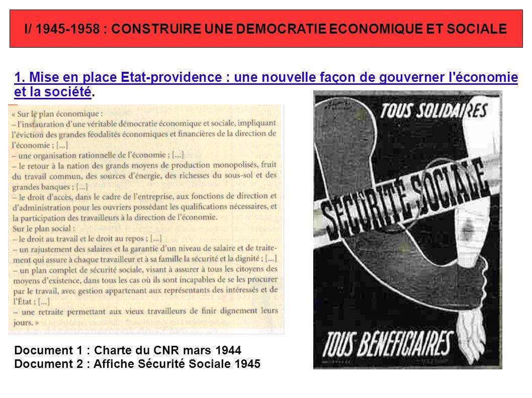 I/ 1945-1958 : CONSTRUIRE UNE DEMOCRATIE ECONOMIQUE ET SOCIALE