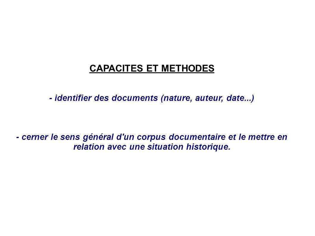 - identifier des documents (nature, auteur, date...)
