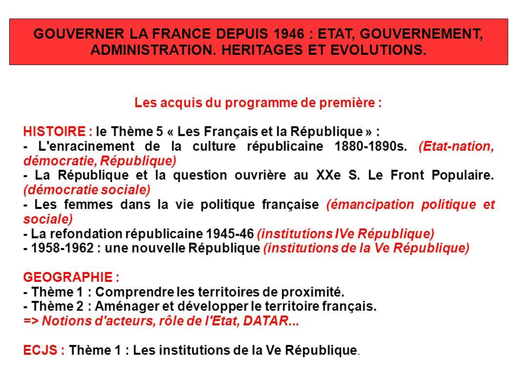 GOUVERNER LA FRANCE DEPUIS 1946 : ETAT, GOUVERNEMENT,