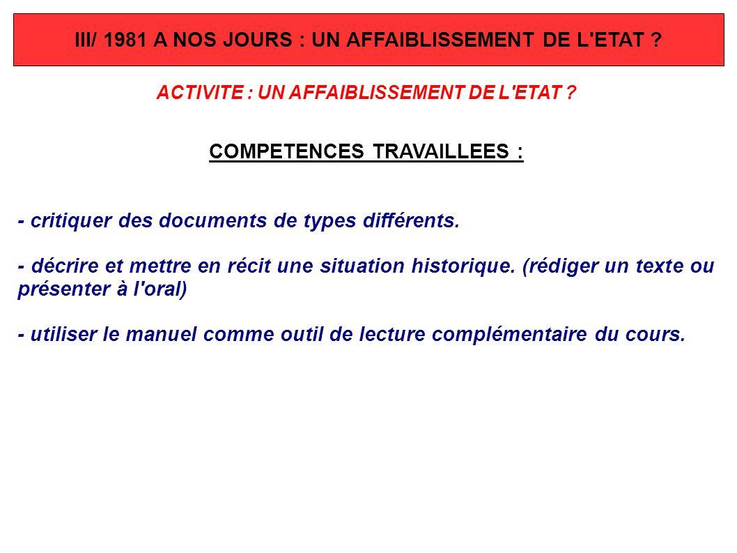 III/ 1981 A NOS JOURS : UN AFFAIBLISSEMENT DE L ETAT