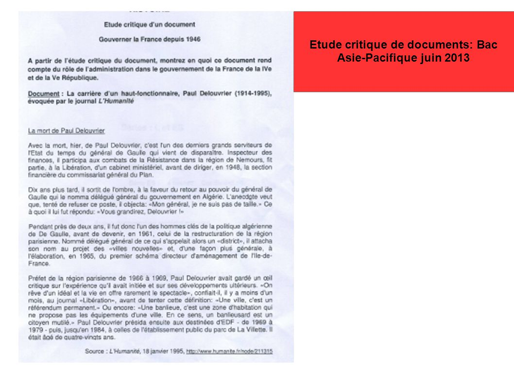 Etude critique de documents: Bac Asie-Pacifique juin 2013